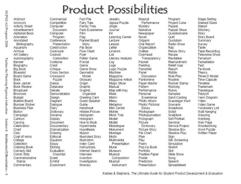 08 05 Product Possibilities Png Differentiated Instruction
