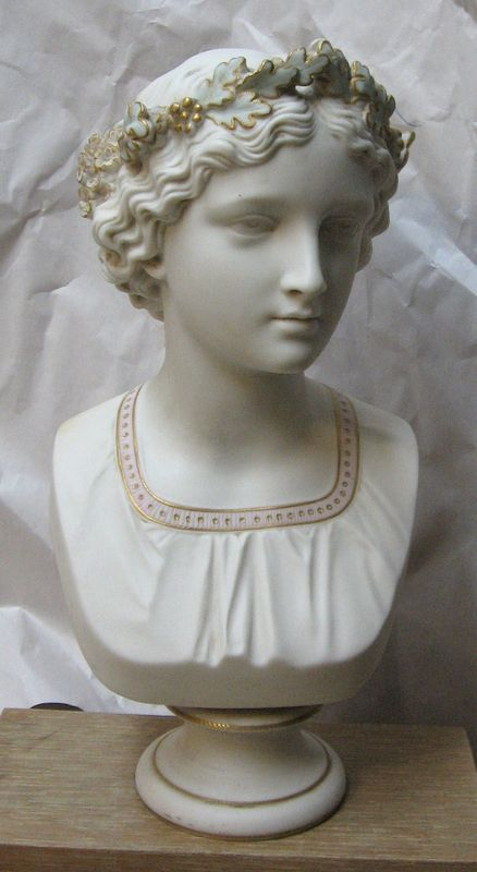 Antique Parian Porcelain Bust May Queen Copeland Crystal