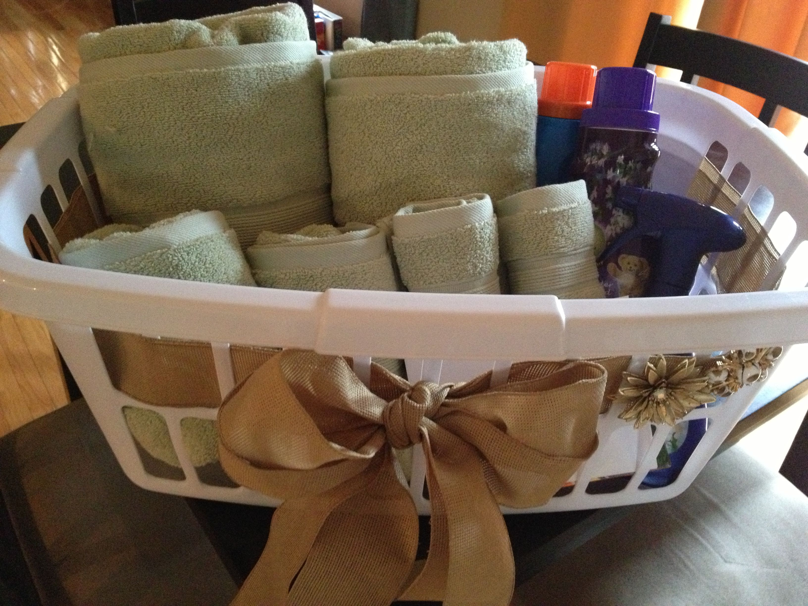 Bridal Shower Gift Laundry Basket Filled With Towels Detergent