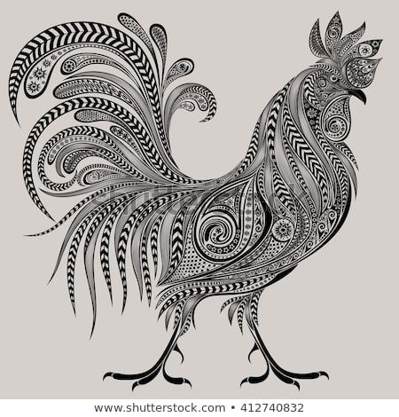 Gorgeous Cock Patterns New Year 2017 Stock Vector (Royalty Free) 412740832 – Zentangle Animals