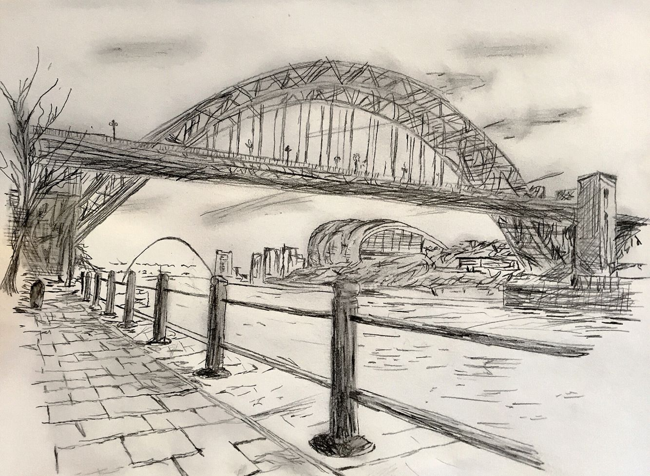 Seems Appropriate To Start With A Sketch I Created Depicting The Newcastle Gateshead Quay Side Looking Under The Newcastle Gateshead Newcastle Bridge Drawing