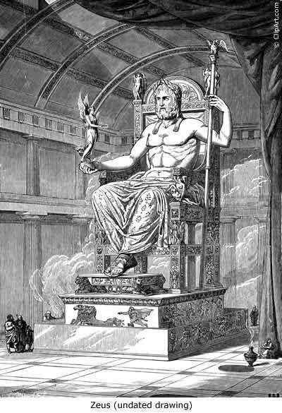 The supreme god, Zeus on his throne in the Temple of Zeus at Delphi.  http://lycianmage.wordpress.com/2014/11/23/kadim-bilgelik/