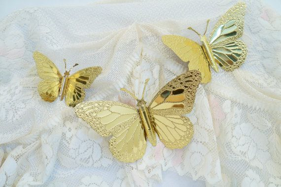Gold Butterfly Wall Decor Vintage By Bitchenbittybags On Etsy