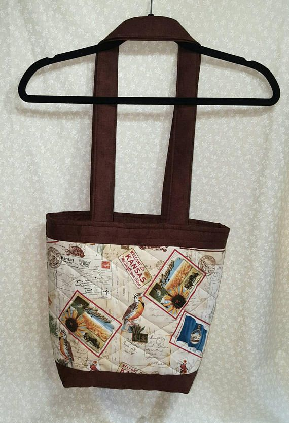 QUILTED TOTE BAG/Welcome to Kansas Design/Coordinating Dark