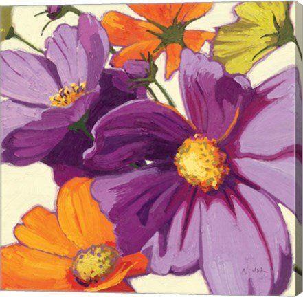 Cosmos II Floral Canvas Wall Art Print by Shirley Novak