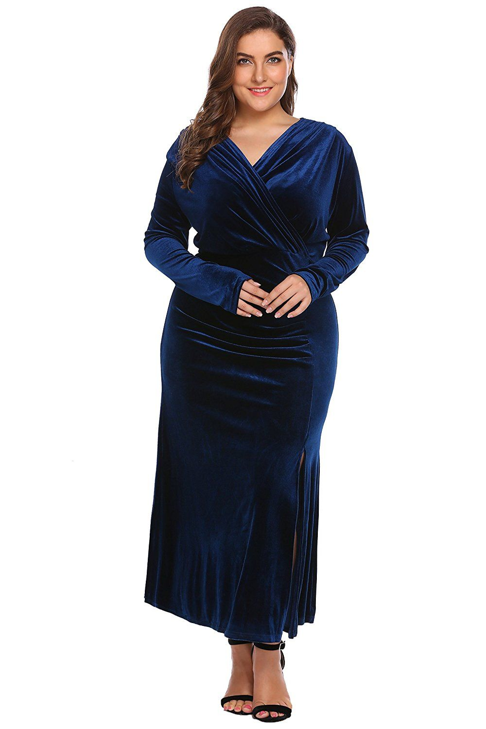 7e5be62893 IN VOLAND Women s Plus Size V-Neck Wrap Split Velvet Elegant Party Evening  Maxi Dress -- You can find out more details at the link of the image.