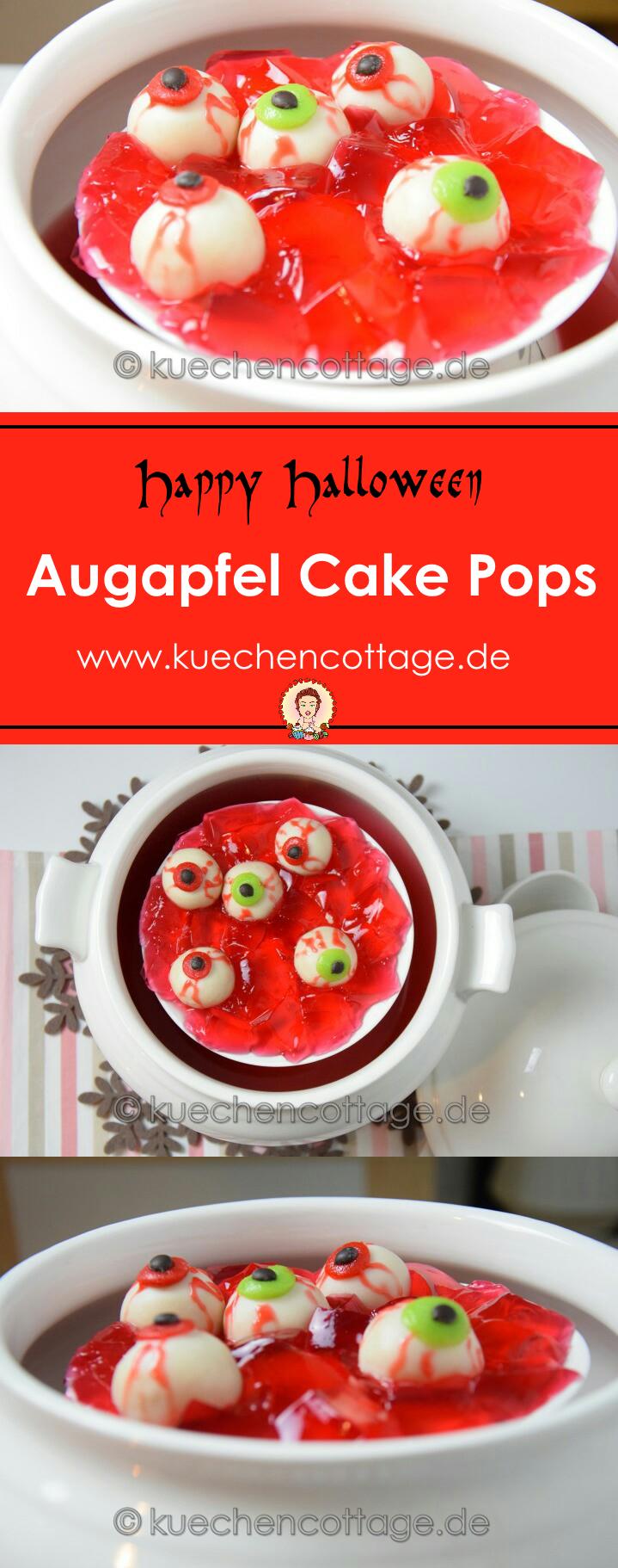 Augapfel-Cakepops | Küchencottage  http://kuechencottage.de/augapfel-cakepops/  Das Rezept für die schaurigen Augapfel-Cakepops findest du auf kuechencottage.de. Happy Halloween!  #Halloween #cakepops #partyfood #rezeptideen #foodporn #foodblog #rezept #backen #partysnacks #süßes #schaurig #gruselig