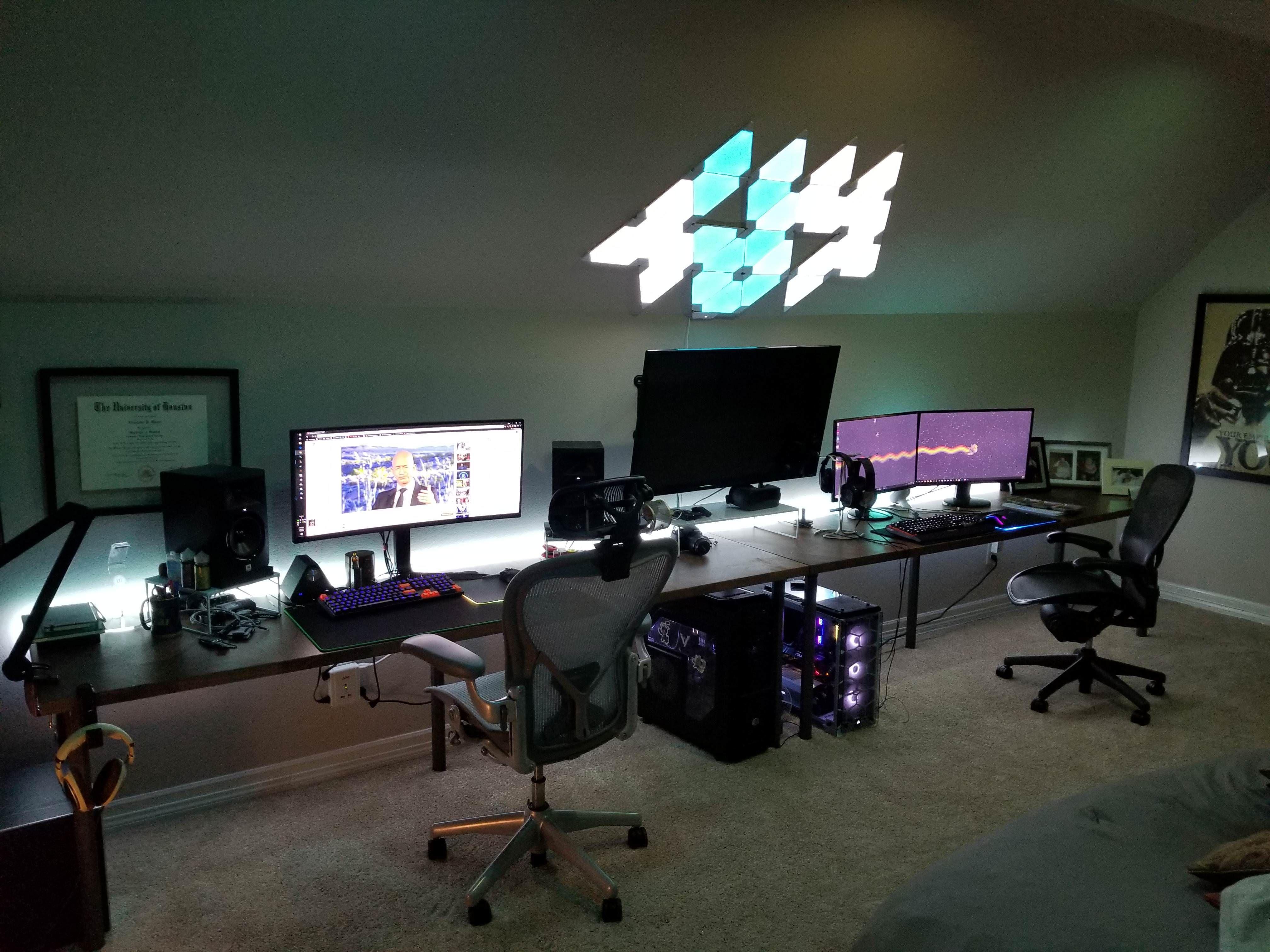 His And Hers Rgb Battleroom Gamer Room Gaming Room Setup Room Setup