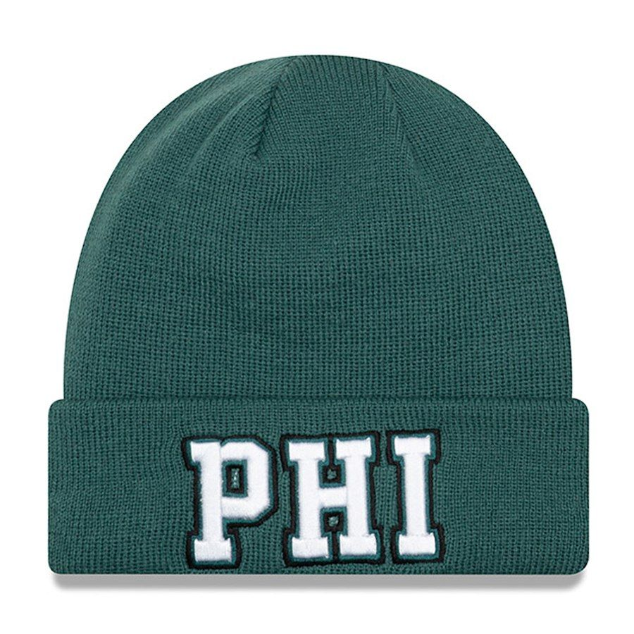 Men s Philadelphia Eagles New Era Midnight Green Barstool Beanie Cuffed  Knit Hat eee21bd81ef