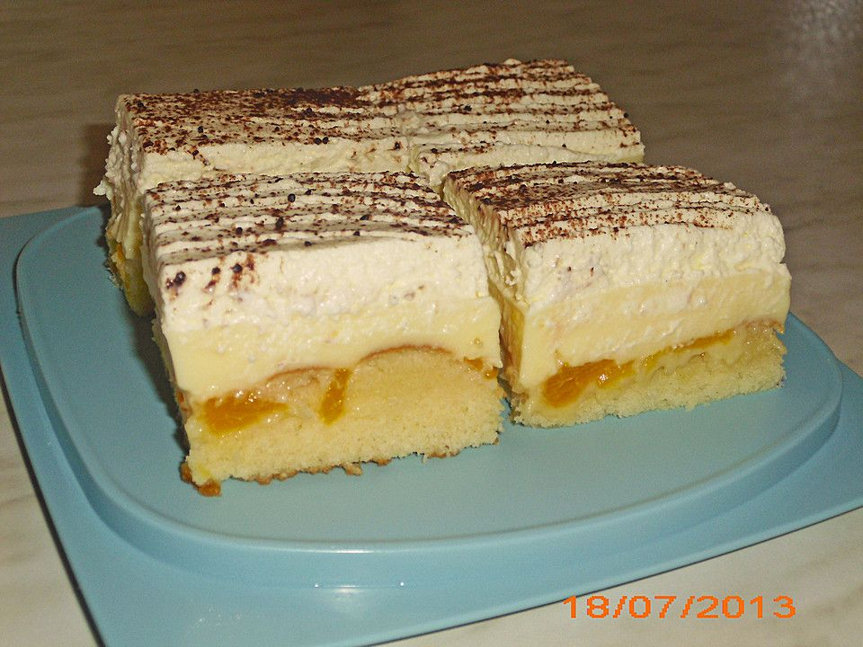 Fanta Schmand Kuchen Mit Pudding Und Mandarinchen Blechkuchen