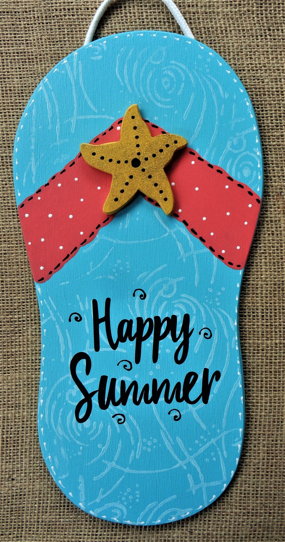 Photo of FLIP FLOP Happy Summer SIGN Wall Art Hanger Deck Patio Pool Tiki Hot Tub Plaque Tropical Decor Wreath Embellishment Wood Wooden Door Hanger
