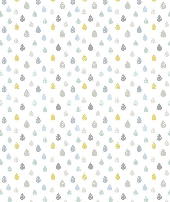 Papier peint enfant gouttes de pluies turquoise d co murale pinterest papier peint enfants - Papier peint petite fille ...