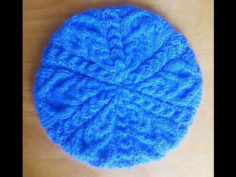 вязание спицами берет герда с узором косы Knitting Cap Beret