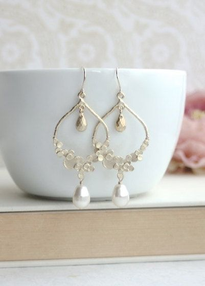 Ivory Gold Moroccan, Boho, Bubbles, Dots, Ivory Pearl Wedding Earrings. Bridesmaids Gift. Bridal Jewelry. Bridal Pearl Jewelry, Gold Wedding #pearljewelry