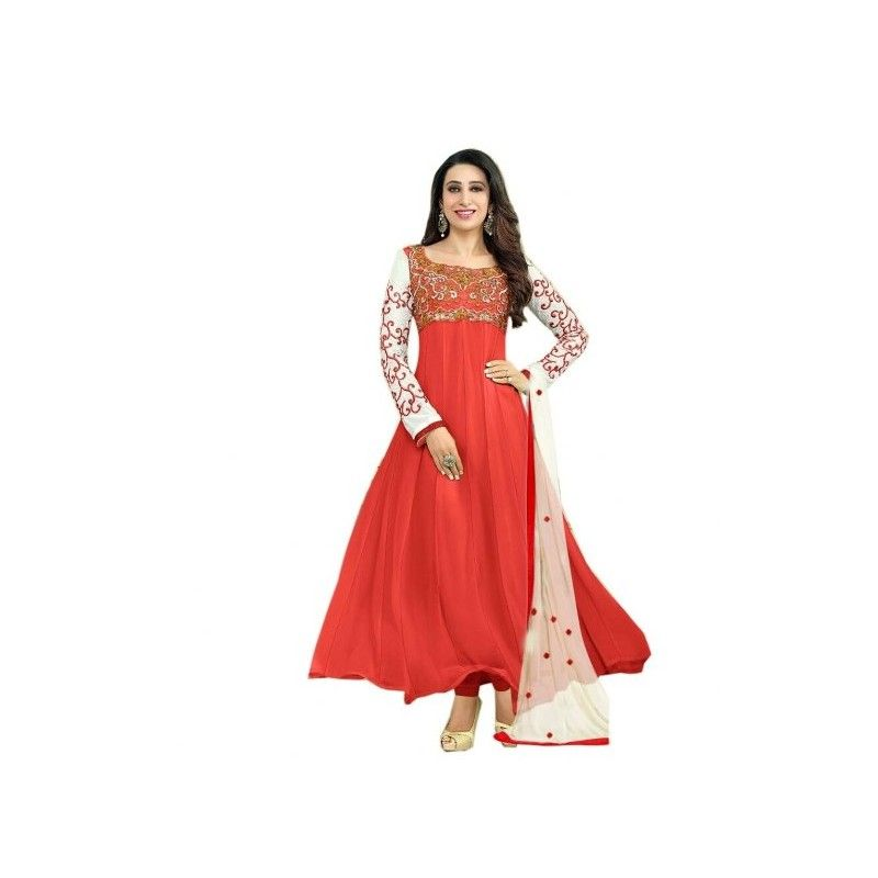 #Janvi Red #Georgette #Embroidered Semi-Stitched #Anarkali #Suit shop now-->> http://goo.gl/y4L3Em