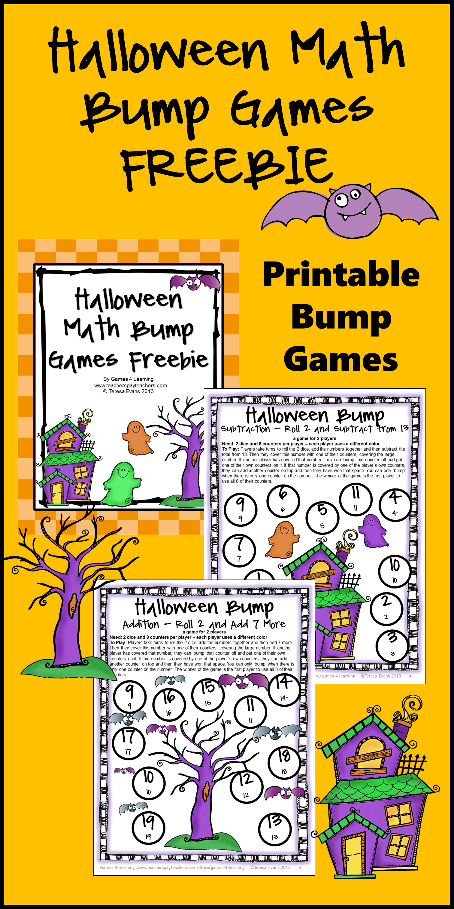 Free Halloween Math Activities Bump Games