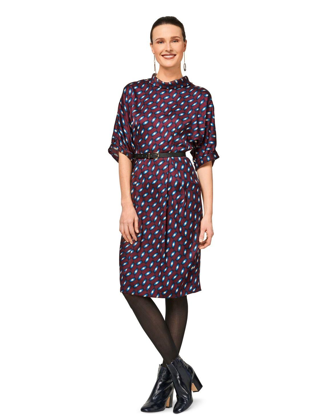 Blusen-Kleid H/W 2017 #6451B | Blusenkleid, Schalkragen und Burda style