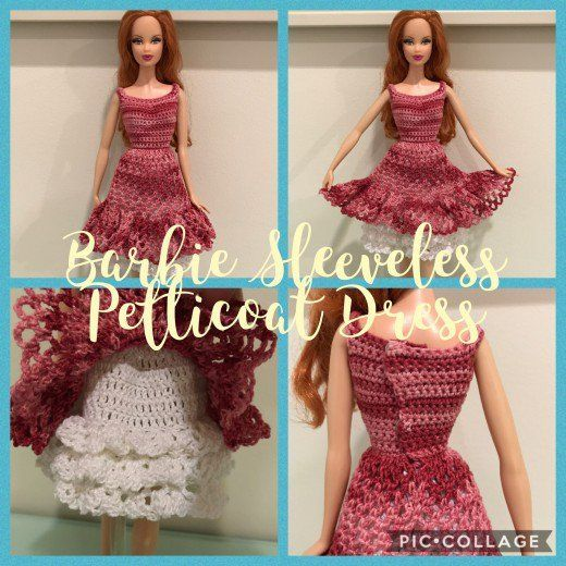 Barbie Sleeveless Petticoat Dress Barbie Doll Crochet Pinterest