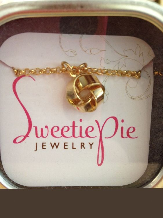 """Love Knot in gift tin  vintage 18k gold plated love knot on 19"""" gold plated chain $48"""