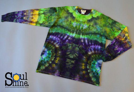Purple Haze LONG SLEEVE XL Spiral Lights Tie Dye Tee Forest