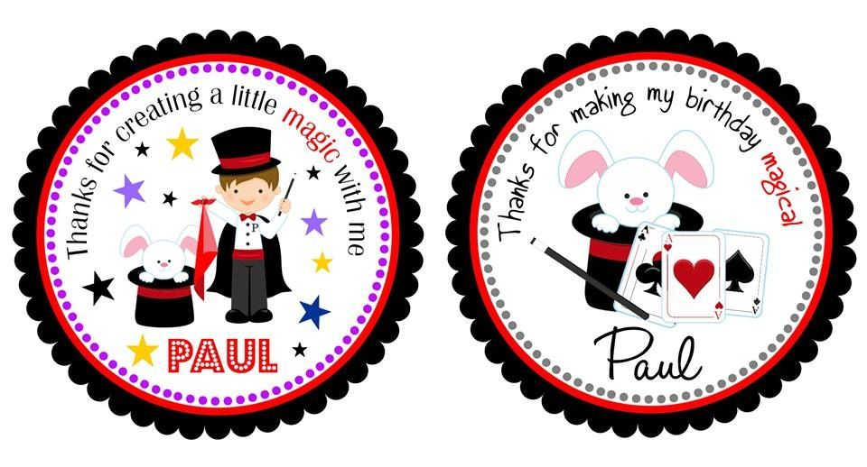 Magic party theme favor tags