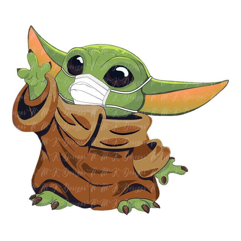 Baby Yoda With Mask Sublimation Designs Png Graphic Design T Etsy Yoda Wallpaper Cute Disney Drawings Cute Animal Drawings Kawaii
