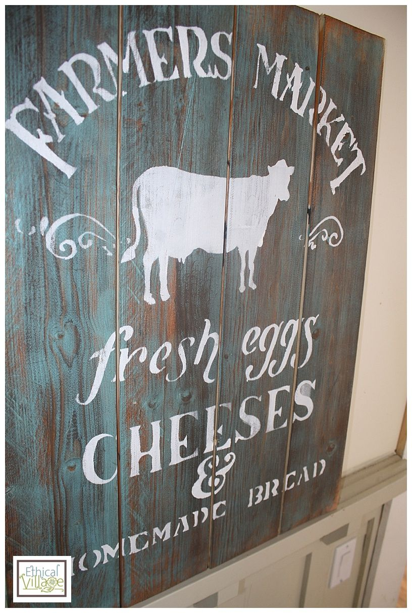 How To Paint A Barnwood Sign Ethical Village Barn Wood Signs Barn Wood Rustic Signs