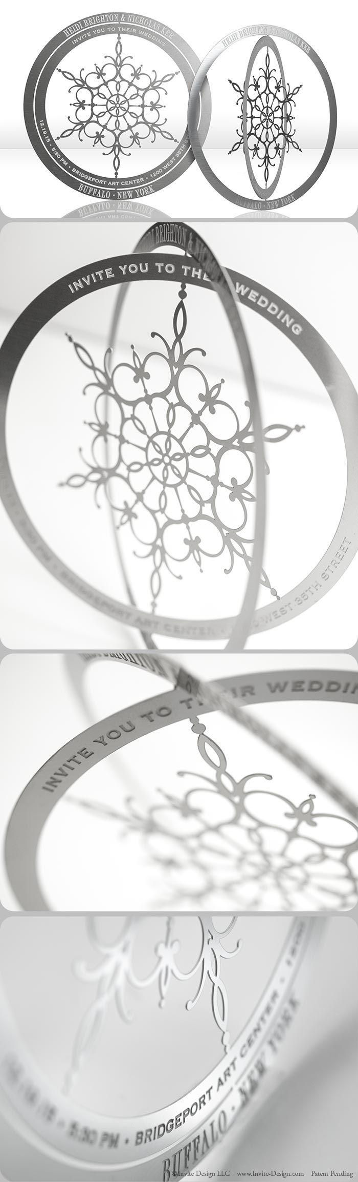 Snowflake metal wedding invitations mail flat, then transform into ...