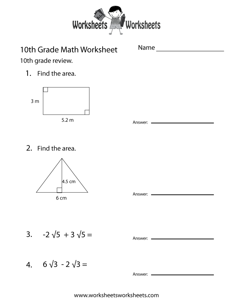 Tenth Grade Math Practice Worksheet - Free Printable Educational Worksheet    10th grade math worksheets [ 1035 x 800 Pixel ]