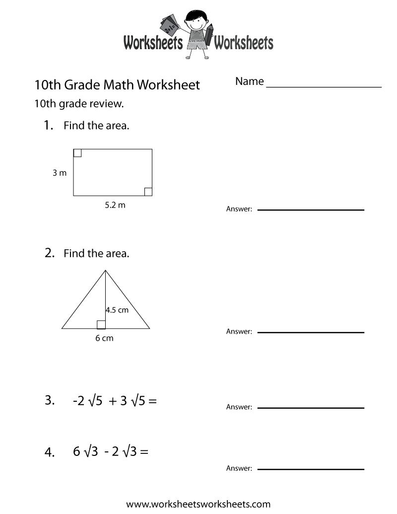 medium resolution of Tenth Grade Math Practice Worksheet - Free Printable Educational Worksheet    10th grade math worksheets