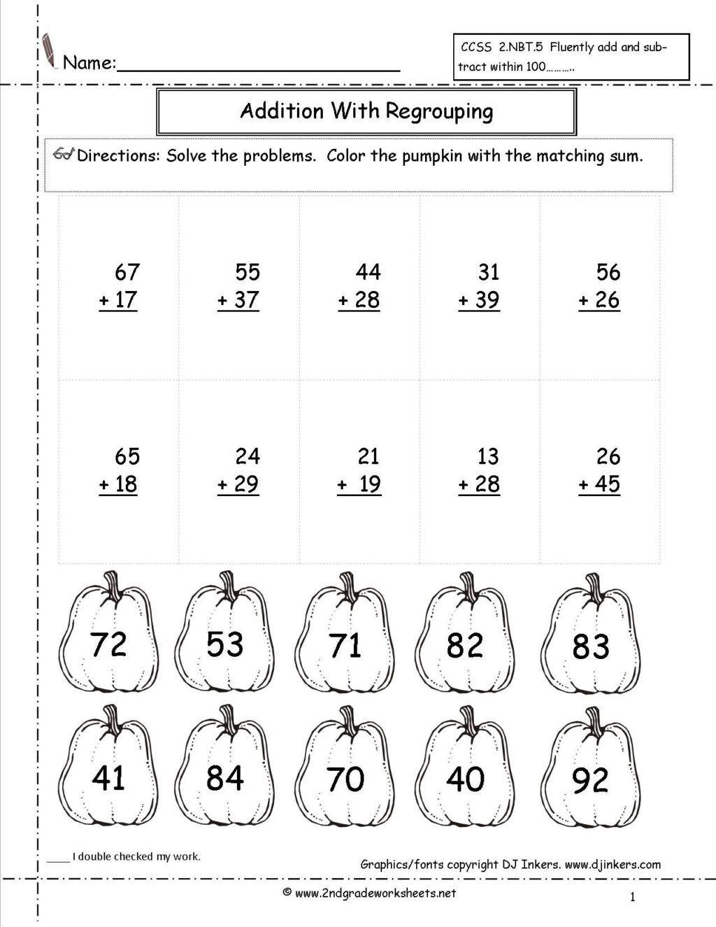 Kindergarten Addition Coloring Worksheets