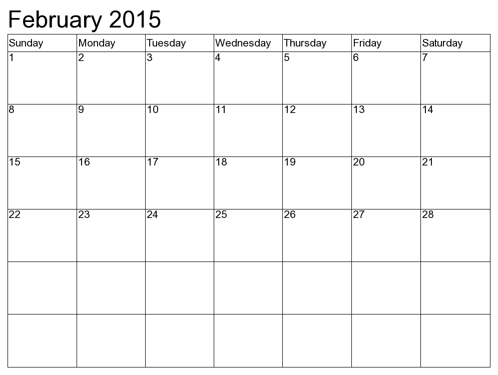 2015 February Calendar Printable Time Date Pinterest
