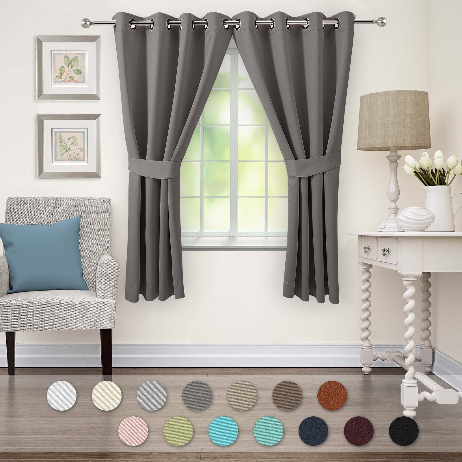Veeyoo blackout curtains grommet thermal insulated window curtains