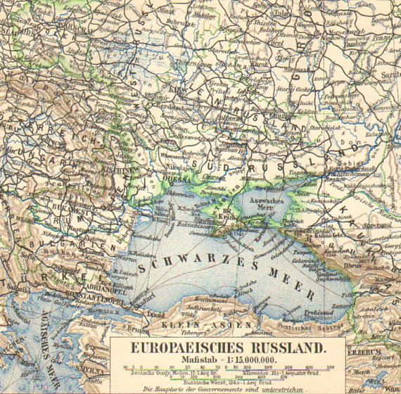 1903 Original Antique Map of the European part of the Russian Empire ...