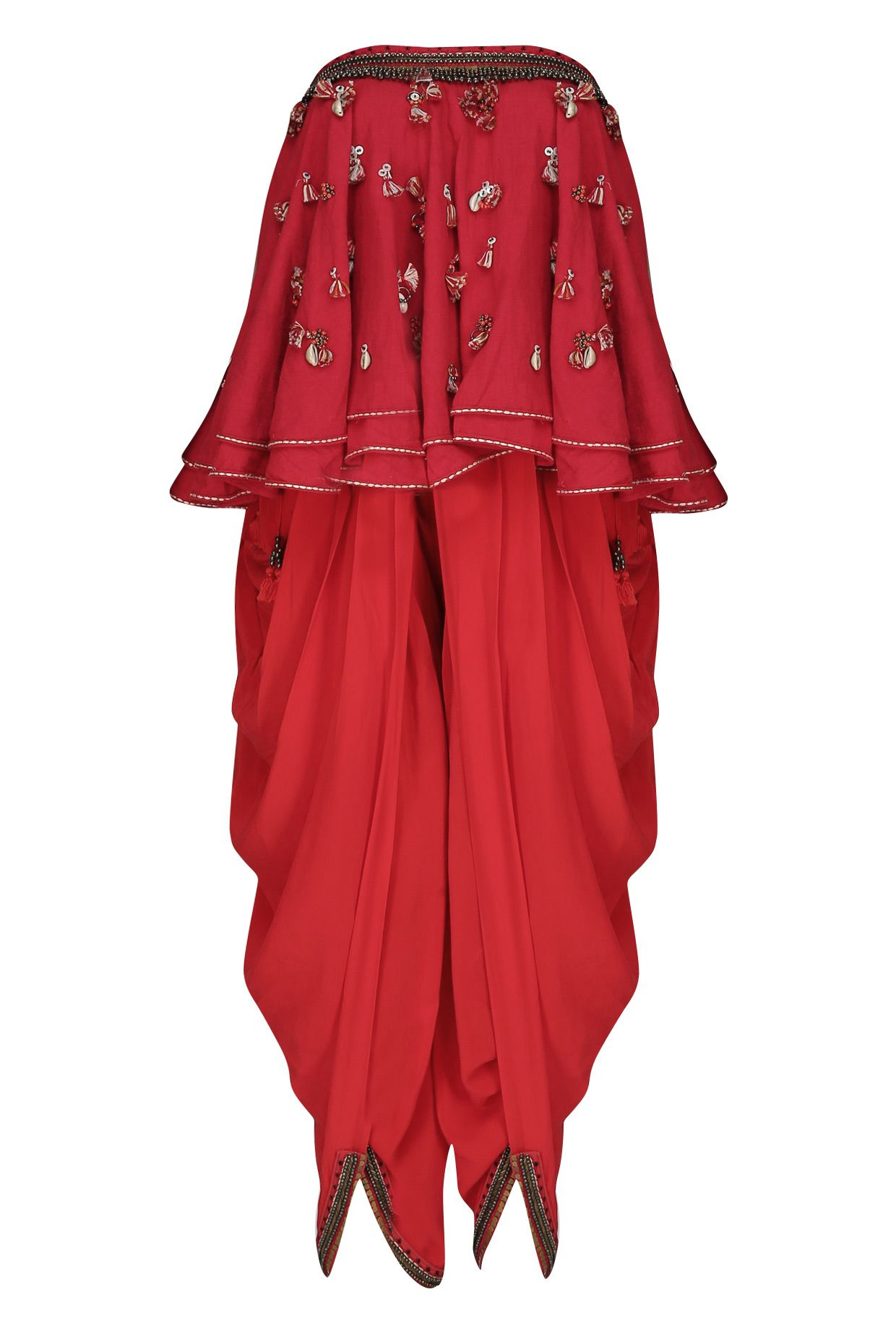 Kasum red embroidered tube kali top with cowl dhoti pants available only at Pernia's Pop Up Shop.