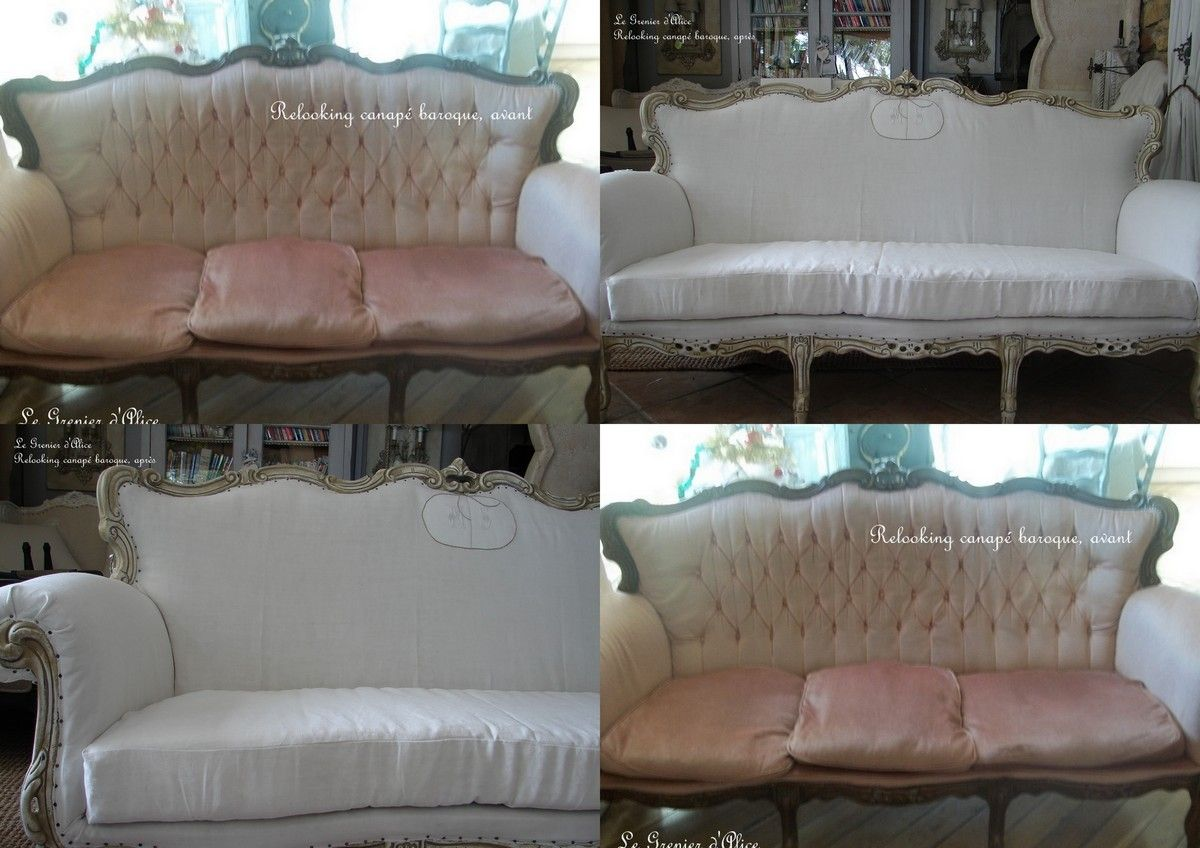 relooking d 39 un canap baroque en un canap totalement shabby chic romantique shabby lo. Black Bedroom Furniture Sets. Home Design Ideas