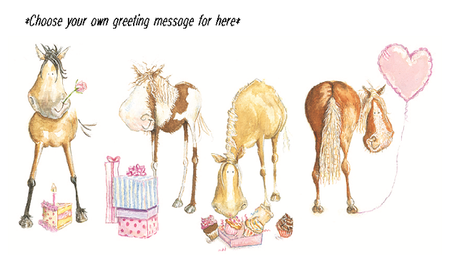 Horse Gifts Birthday Cardbirthday Card With Horsesbirthday Poniesgreeting Horses