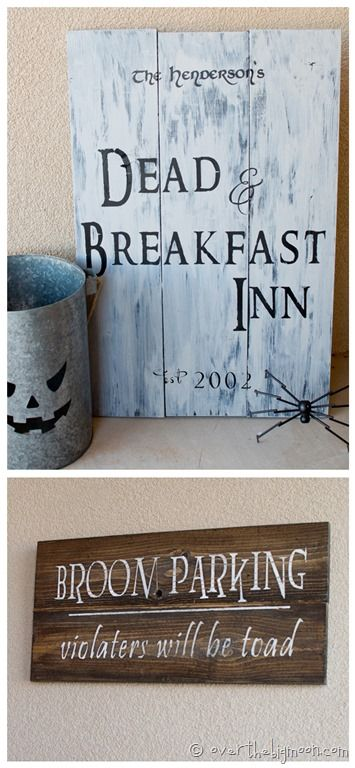Make your own Witch Brooms and Halloween Signs Witch broom - halloween decorations to make on your own
