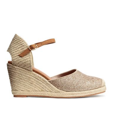 95cb95c239462 Espadrilles in imitation suede with a jute-covered wedge heel and jute back  section. Adjustable ankle strap and rubber soles. Heel height 3 1 2 in.
