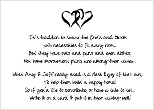 Wedding Gift Card Sayings: Bridal Shower Insert Poem Card