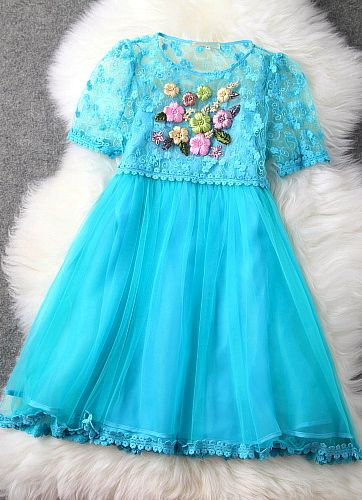 Luxury Designer Blue Lace Embroidered Dress