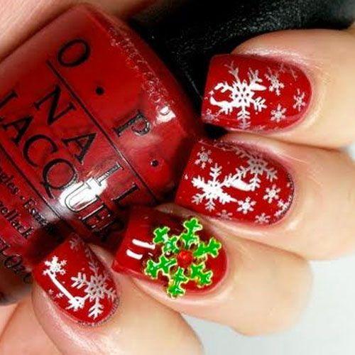 47 Christmas Nail Art Designs Red Base With Silver Polka Dots
