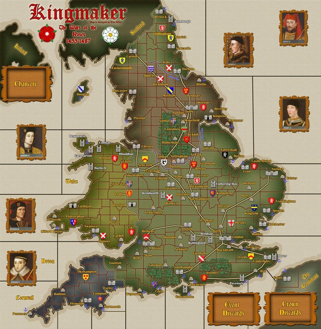 Kingmaker Boardgame Board games, Wars of the roses