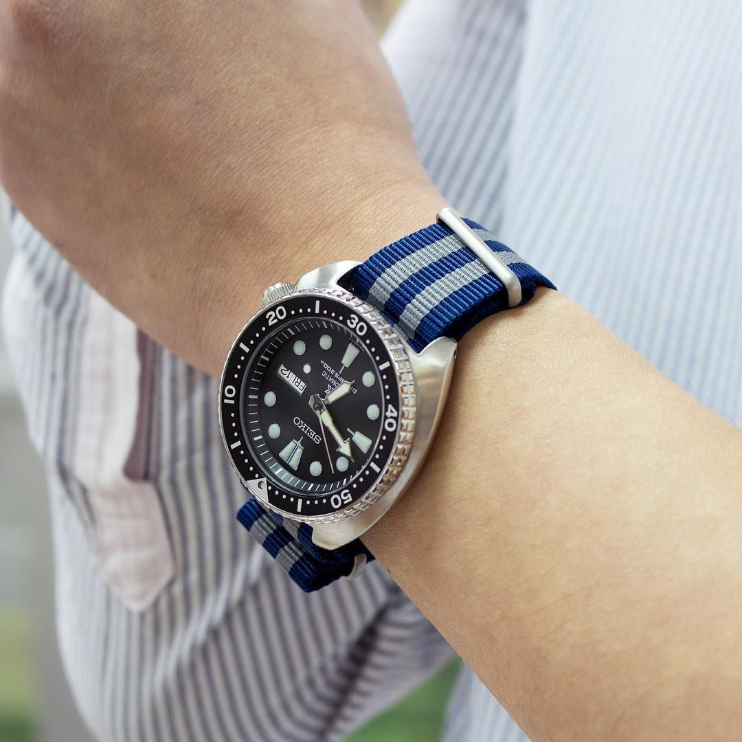 ba322391c7c  MiLTAT navy   grey G10 NATO strap on Seiko Turtle SRP777K1 Diver black.  Available now - www.strapcode.com  strapcode
