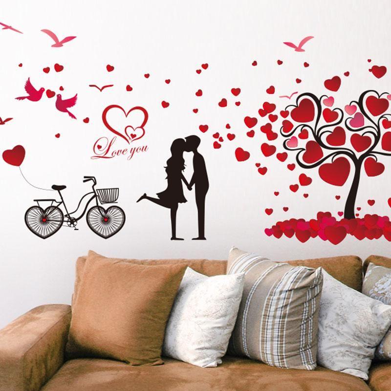 shijuehezi] bike birds couples tree wall stickers vinyl diy mural