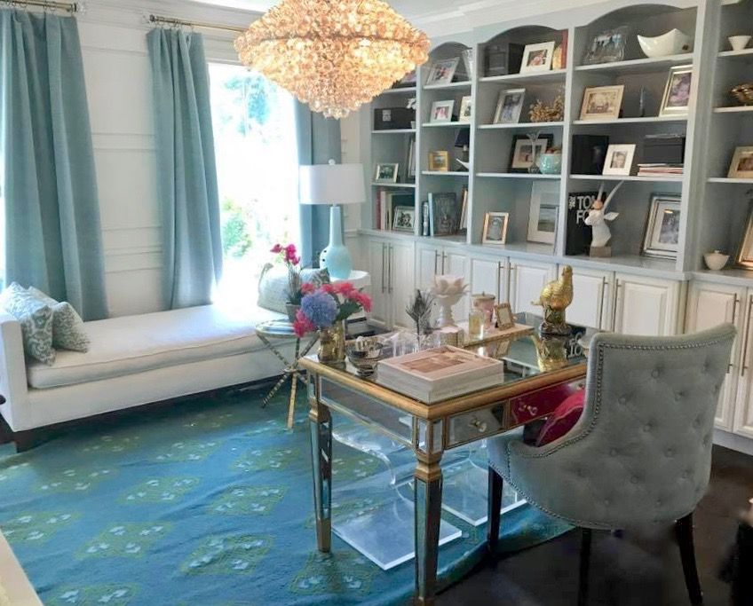 how to decorate home office. Home Office Reveal. Painted Bookcases, How To Decorate Bookshelves. South Shore Decorating Blog