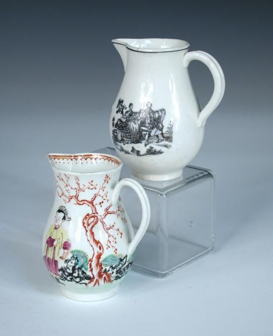 Sale F170615 Lot 76  Attributed to Liverpool, two sparrow beak jugs, one possibly Chaffers, painted with a Chinese family by an iron red tree and triangular fence, the other possibly John and Jane Pennington, printed on one side with the tea party and on the other with the maid and page (2)
