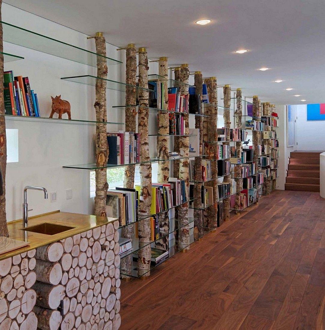Be Unique With This Tree Trunk Shelves Rumahkulibrary Luxus Villa Wohnzimmer Einrichten Luxus Wohnung