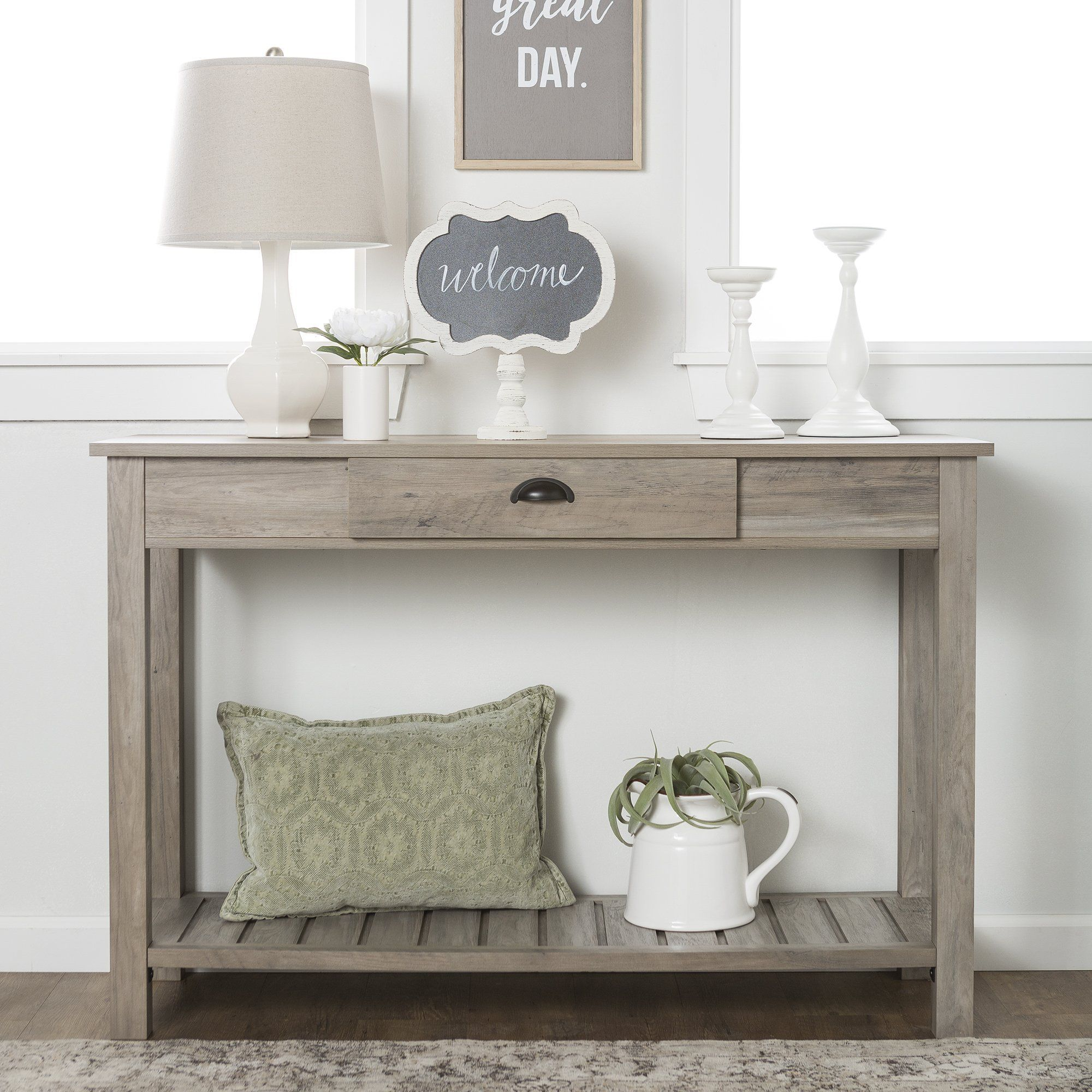48 Country Style Entry Console Table Grey Wash Sofa Table Decor Entryway Console Table Furniture