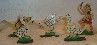Wood-Goose-Girl-Putz-Village-Erzgebirge-Tree-Vintage-Christmas-Ornament-German
